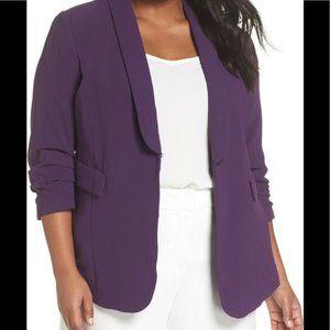 Sejour Purple Gathered Sleeve Blazer (Plus Size)